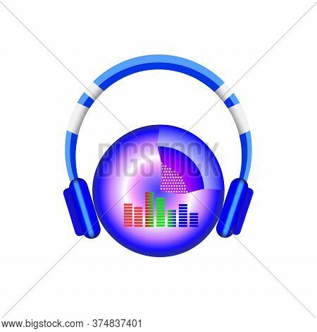 Vector Illustration Of Stereo Headphones. Music, Stereo Sound