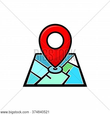 Map Location Pin Isolated On White Background, Location Pin Vector Icons, Location Pin Icon Sign For
