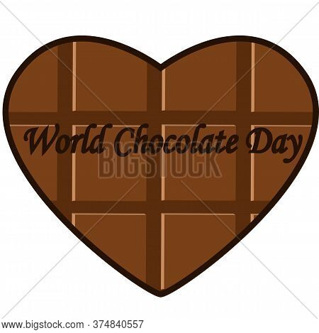 Chocolate Heart Shape Icon Vector. World Chocolate Day Vector. Important Day. Chocolate Day Poster,
