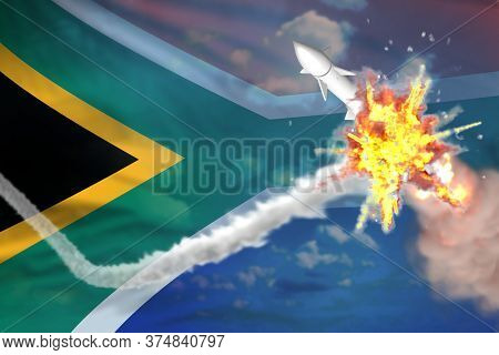 Strategic Rocket Destroyed In Air, South Africa Nuclear Missile Protection Concept - Missile Defense