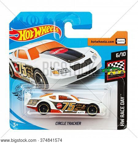 Ukraine, Kyiv - June 22. 2020: Toy Car Model Circle Tracker. Hot Wheels Is A Scale Die-cast Toy Cars
