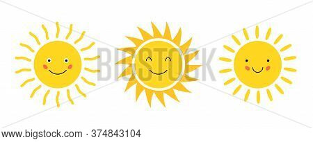 Emoji Cartoon Sun Vector Flat Icon. Doodle Sunshine Cute Happy Sun Face