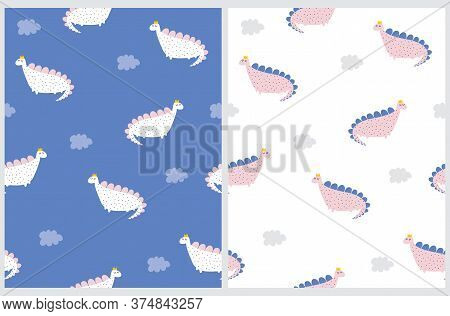 Cute Simple Dino Seamless Vector Pattern. Print With Funny Dinos And Fluffy Clouds Isolated On A Whi