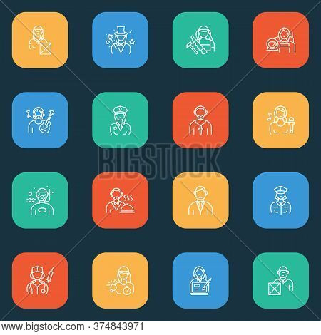 Occupation Icons Line Style Set With Courier, Delivery Man, Illusionist And Other Sport Teacher Elem
