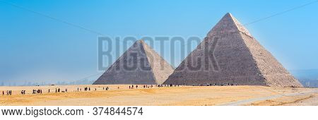 The Pyramids At Giza In Egypt. Web Banner In Panoramic View.