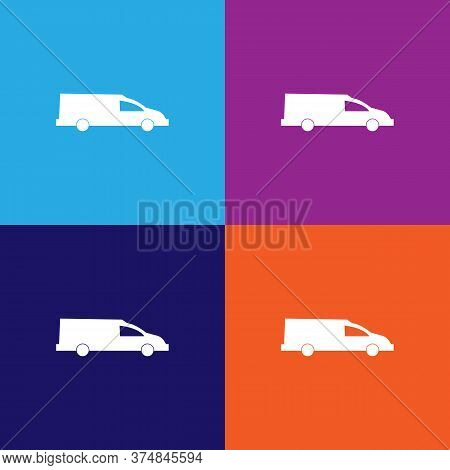 Coffin Transport, Hearse Car Icon Vector On Multicolored Background