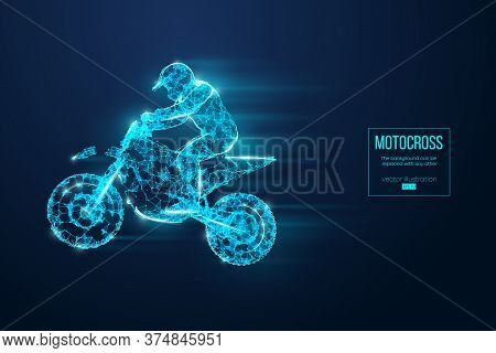 Abstract Silhouette Of A Wireframe Motocross Rider From Particles On The Blue Background. Convenient