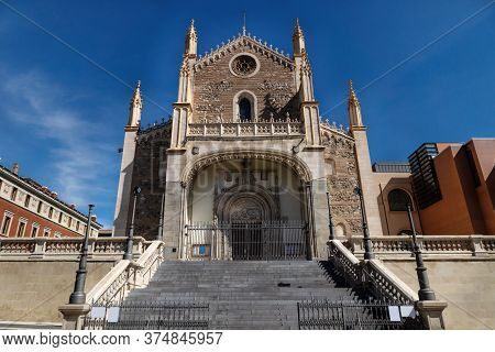 Stairs To The Entrance Of Gothic Church San Jeronimo El Real In Madrid, Spain