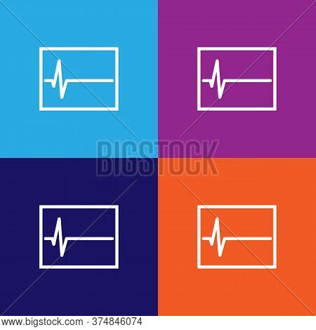 Electrocardiogram Graph Indicating Heart Rhythm Illustration Icon Vector On Multicolored Background