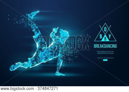 Abstract Silhouette Of A Wireframe Breake Dancer. Teenager Dance Hip-hop. Man Bboy From Particles On
