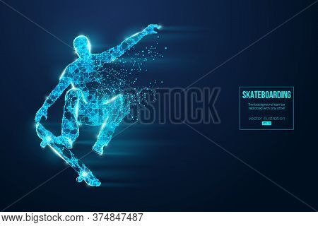 Skateboarding. Abstract Silhouette Of A Wireframe Skateboarder From Particles On The Blue Background