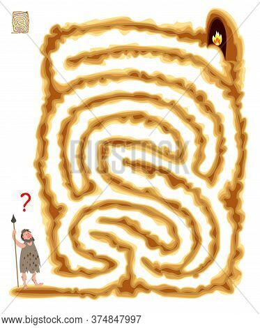 Logic Puzzle Game With Labyrinth For Children And Adults. Help The Primitive Man Find The Way To The