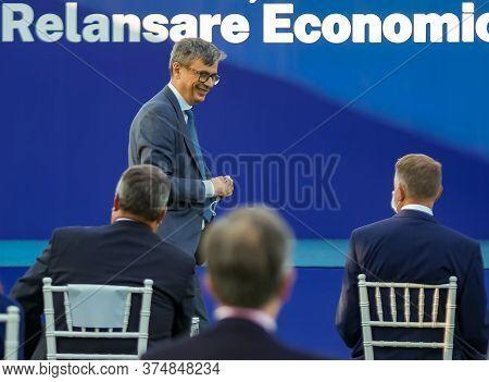 Bucharest, Romania - July 01, 2020: Virgil Popescu, The Minister Of Economy Smiles At President Klau