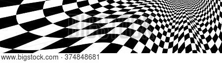 Checker Pattern Mesh In 3d Dimensional Perspective Vector Abstract Background, Formula 1 Race Flag T