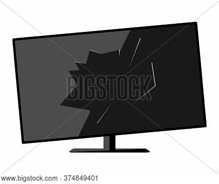 Old Tv. Broken Broken Black Household Appliances With A Hole In The Center Of The Screen.