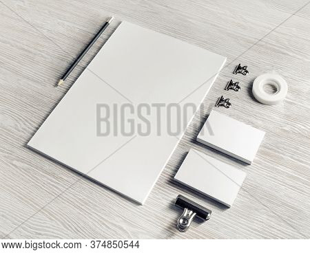 Stationery Mock Up. Blank Corporate Identity Template On Light Wood Table Background. Responsive Des