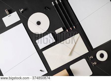 Blank Corporate Stationery Set On Black Paper Background. Template For Branding Design. Branding Moc