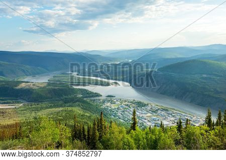 Panoramic View Of Dawson City And Yukon River From The Top Of Midnight Dome Mountain, Yukon Territor