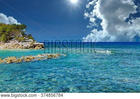 Clear Caribbean Water Off Tropical Island Of Haiti