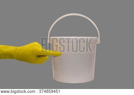 Paint Bucket, Paint Roller Isolated On  Background, Repair Paint The Wall