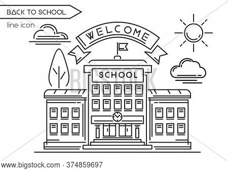 School Building Line Logo Design. Back To School. Welcome To School. Black And White School Icon. Ve
