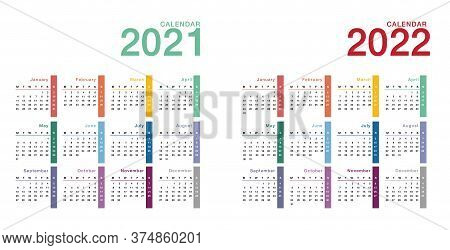 Colorful Year 2021 And Year 2022 Calendar Horizontal Vector Design Template, Simple And Clean Design