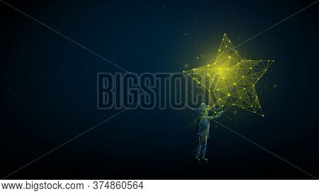 Children Reaching For The Star. Take A Star From The Sky, Dreams And Plans, Concept. Low Poly, Wiref