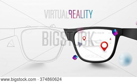 Smart Glasses With Map And Red Pinpoint On Screen. Vr Virtual Reality And Ar Augmented Reality Techn