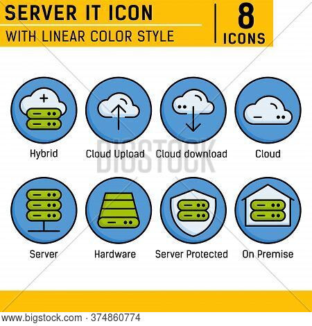 Server It And Technology Icon Set. Vector Icon With Lineal Color Style On Isolated White Background.