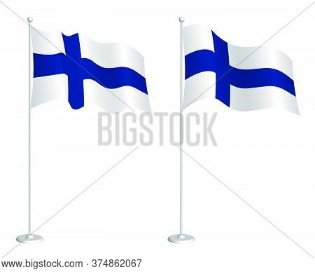 Flag Of Finland On Flagpole Waving In The Wind. Holiday Design Element. Checkpoint For Map Symbols.