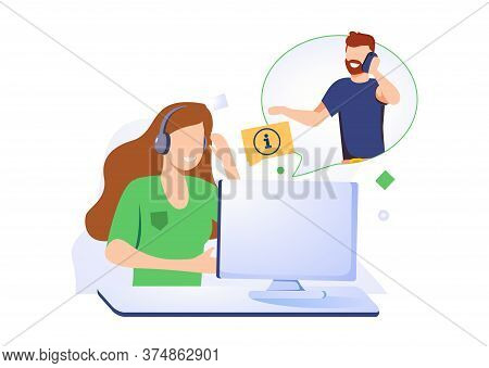 Woman With Headset Is Sitting At Her Computer And Talking With Client. Clients Assistance, Call Cent