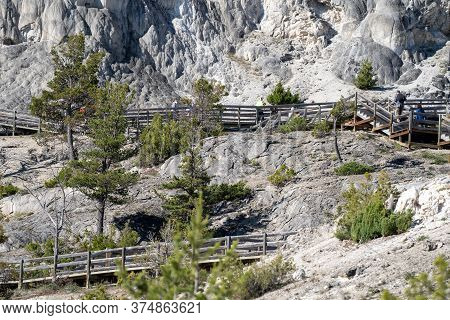 July 2, 2020 - Yellowstone National Park, Wyoming: Boardwalks In The Hot Spring Travertine Terraces