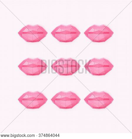 Romance Concept With Beauty Shine Polygonal Paper Lips. Creative Kiss. World Kissing Day Greeting Ca
