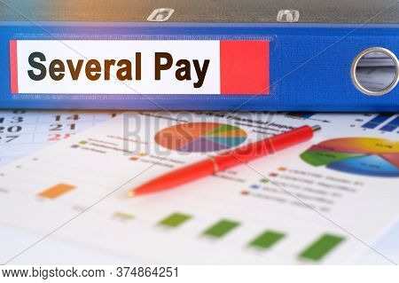 On The Table Are Pie Charts, A Pen And A Folder With The Inscription - Several Pay. Business And Fin