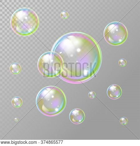 Transparent Realistic Set Of Soap Bubbles. Soap Bubbles In Transparent Background. Rainbow Colorfull
