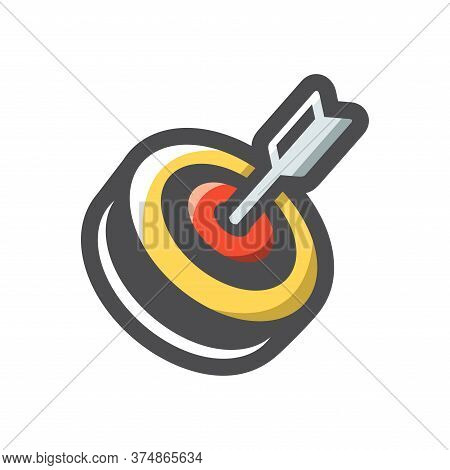 Target And Arrow. Accurate Shot. Vector Cartoon Illustration