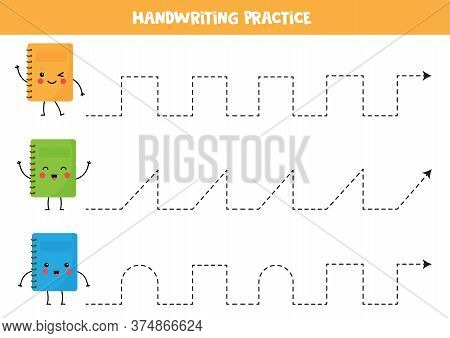 Tracing Lines With Cute Kawaii Copybooks. Educational Game.
