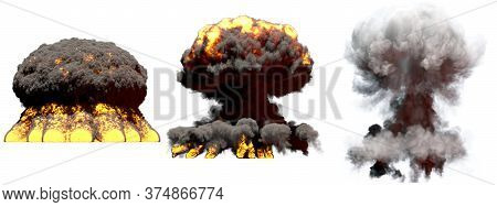 3 Huge Different Phases Fire Mushroom Cloud Explosion Of Super Bomb With Smoke And Flames Isolated O