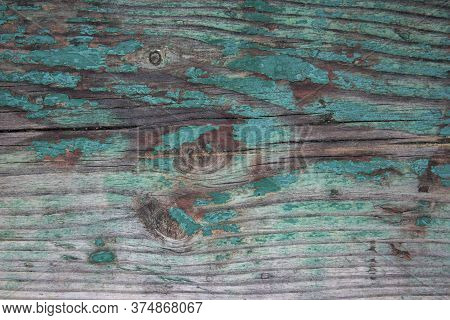 Weathered Blue Wooden Background Texture. Shabby Wood Teal Or Turquoise Green Painted. Vintage Beach