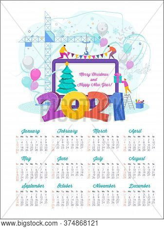 2021 Happy New Year Calendar. Tiny People Create A Christmas Card On A Laptop Monitor. Design For Co