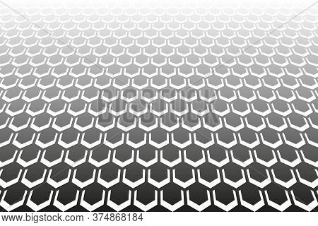 Abstract Geometric Hexagons Pattern. Diminishing Perspective. Black Textured Background. Vector Art.