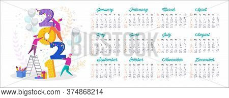 Small People Hold Huge Numbers. 2021 Calendar And Greeting Card. Gift Box, Christmas Tree, Garland H