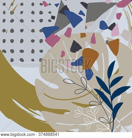 Natural Floral Background. Leaves, Blades Of Grass And Twigs. Grunge Abstract Textural Elements. Ter