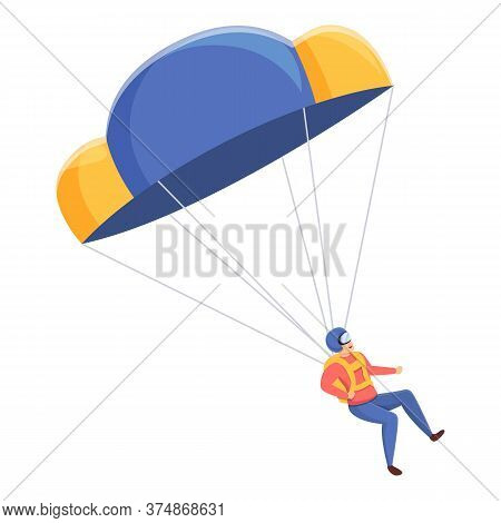 Extreme Parachuter Icon. Cartoon Of Extreme Parachuter Vector Icon For Web Design Isolated On White
