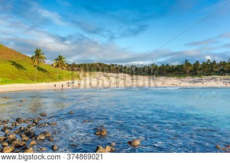 Anakena Beach On Easter Island, Rapa Nui In Chile