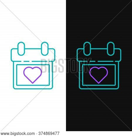 Line Calendar With Heart Icon Isolated On White And Black Background. Valentines Day. Love Symbol. F