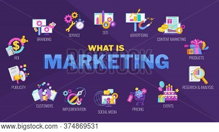 What Is Marketing Icons. Marketing Mix Infographic Flat Vector Illustration. Strategy And Management