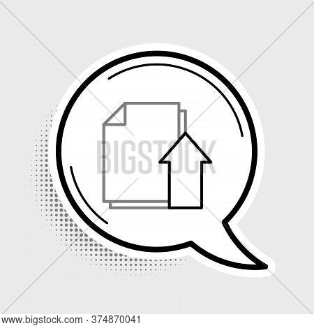Line Upload File Document Icon Isolated On Grey Background. Document Arrow. Colorful Outline Concept