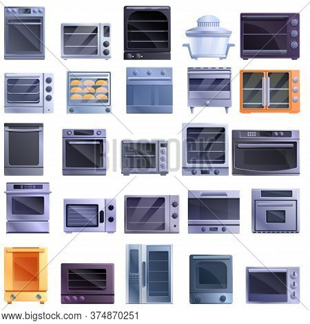 Convection Oven Icons Set. Cartoon Set Of Convection Oven Vector Icons For Web Design