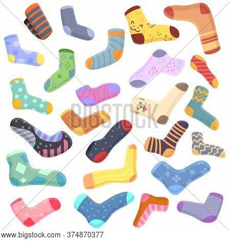 Socks Icons Set. Cartoon Set Of Socks Vector Icons For Web Design